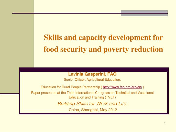 skills and capacity development for food security and poverty reduction n.