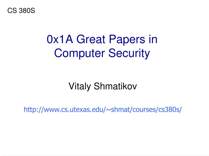 0x1a great papers in computer security n.