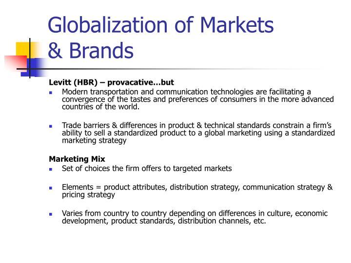 the globalization of markets levitt