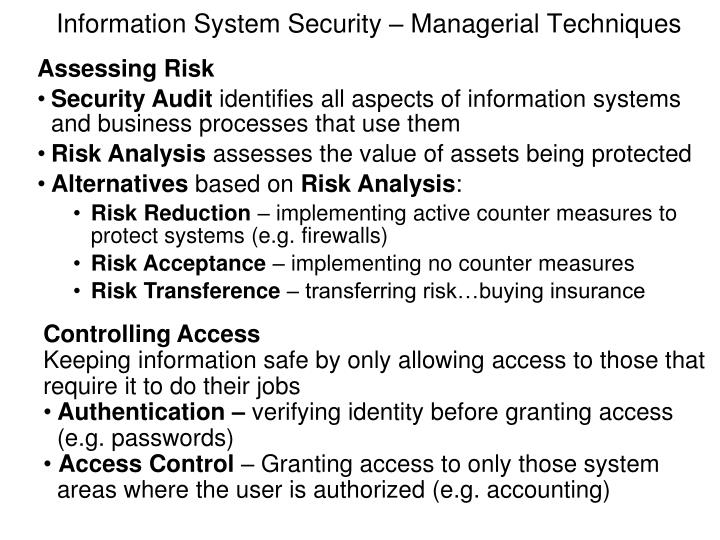Information System Security – Managerial Techniques