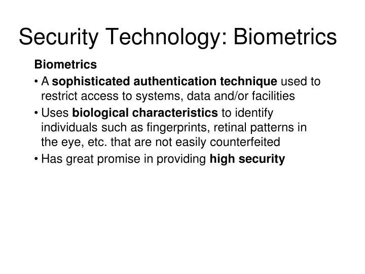 Security Technology: Biometrics
