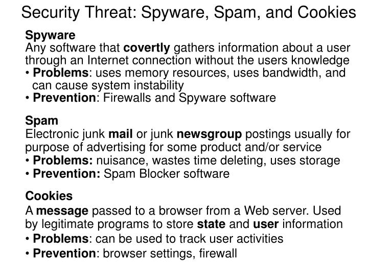 Security Threat: Spyware, Spam, and Cookies
