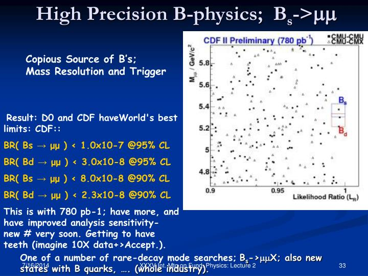 Copious Source of B's;  Mass Resolution and Trigger