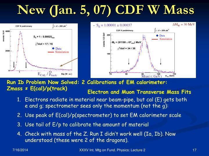 New (Jan. 5, 07) CDF W Mass