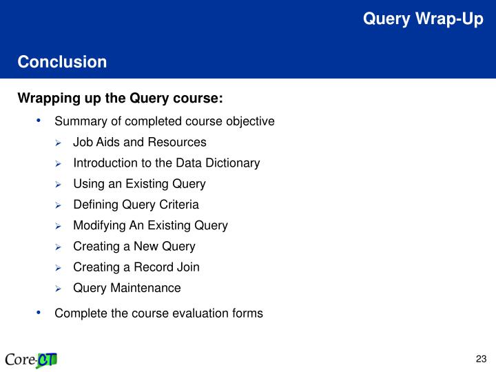Query Wrap-Up