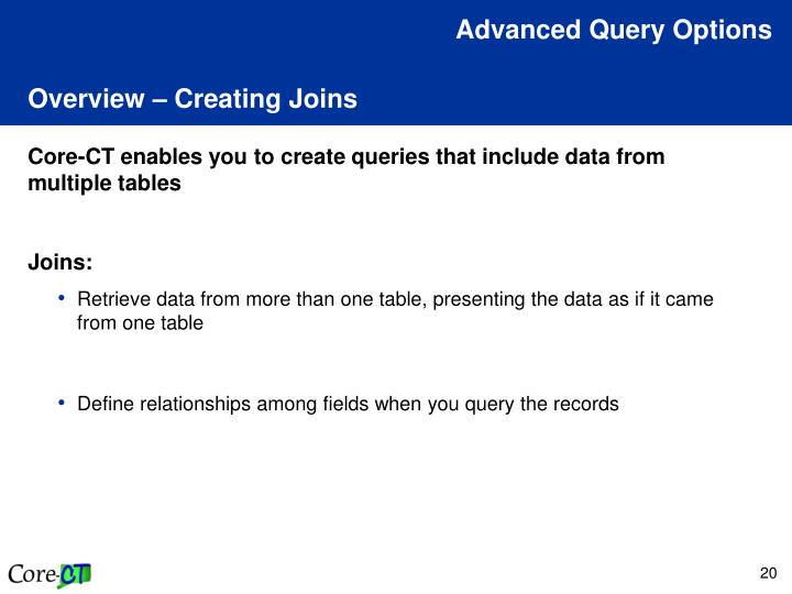Advanced Query Options