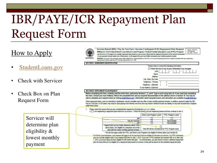 IBR/PAYE/ICR Repayment Plan Request Form
