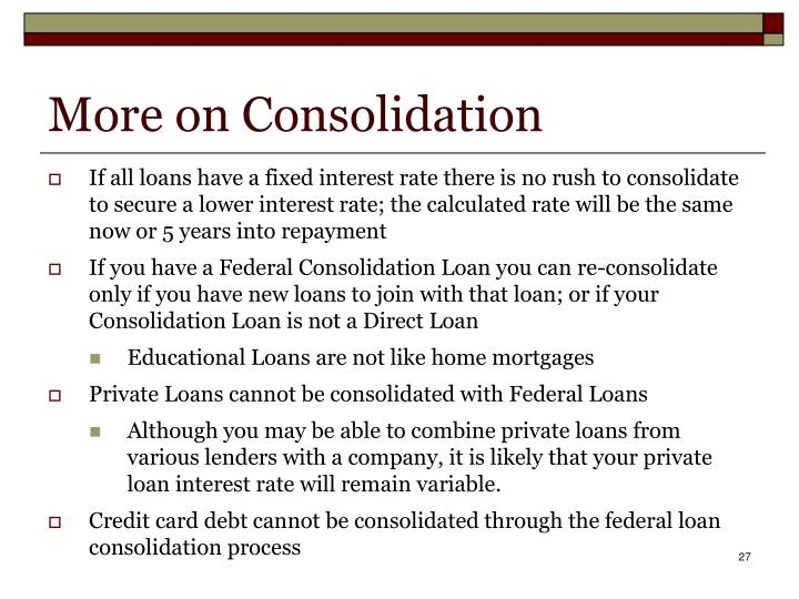 More on Consolidation