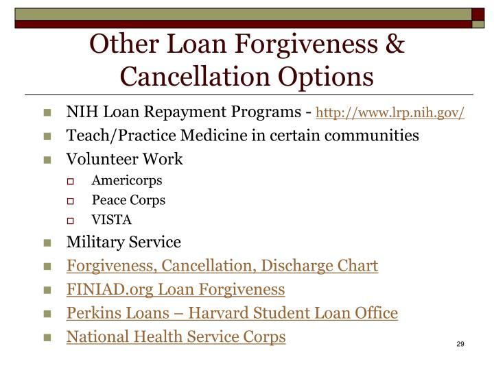 Other Loan Forgiveness & Cancellation Options