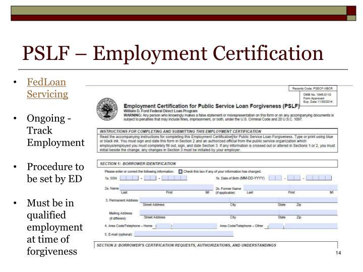 PSLF – Employment Certification