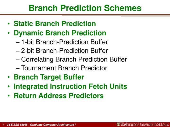 Branch Prediction Schemes