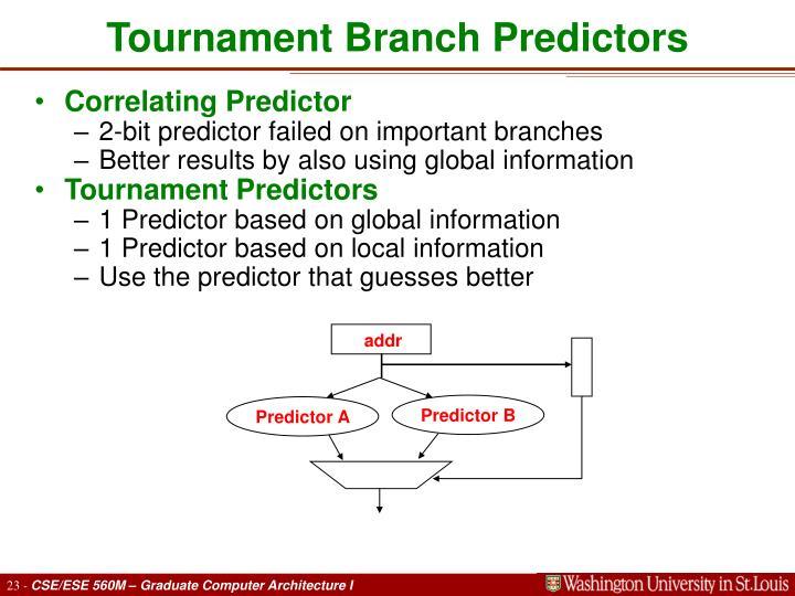 Tournament Branch Predictors