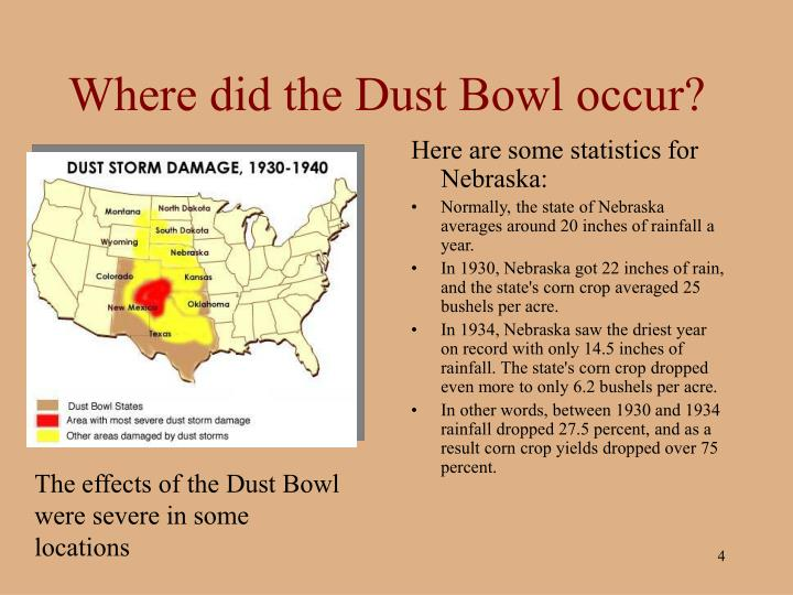 """dust bowl essays Dust bowl essay dust bowl is a term coined by an associated press correspondent when he described the drought conditions that affected the residents of 27 states as they struggled to grow wheat in the unforgiving weather conditions of the """"dirty thirties."""