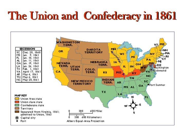 The Union and  Confederacy in 1861