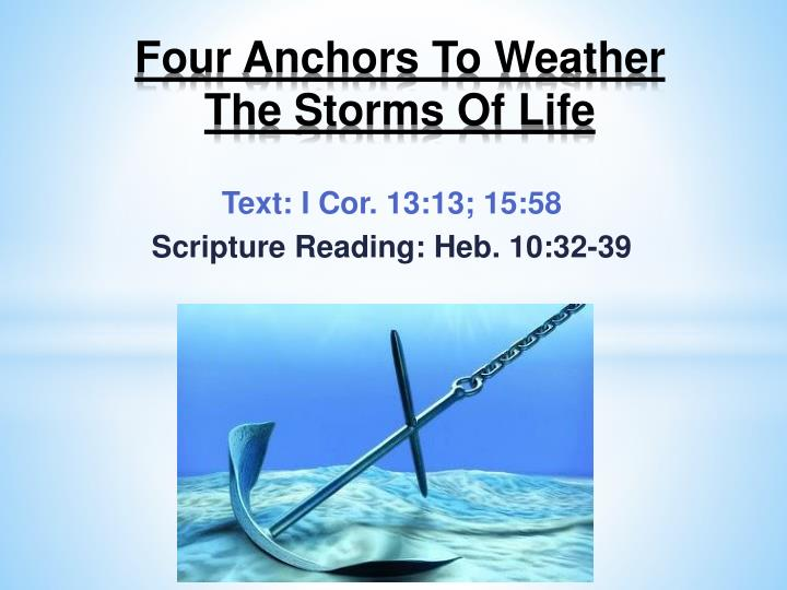 four anchors to weather the storms of life n.
