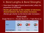 4 bond lengths bond strengths