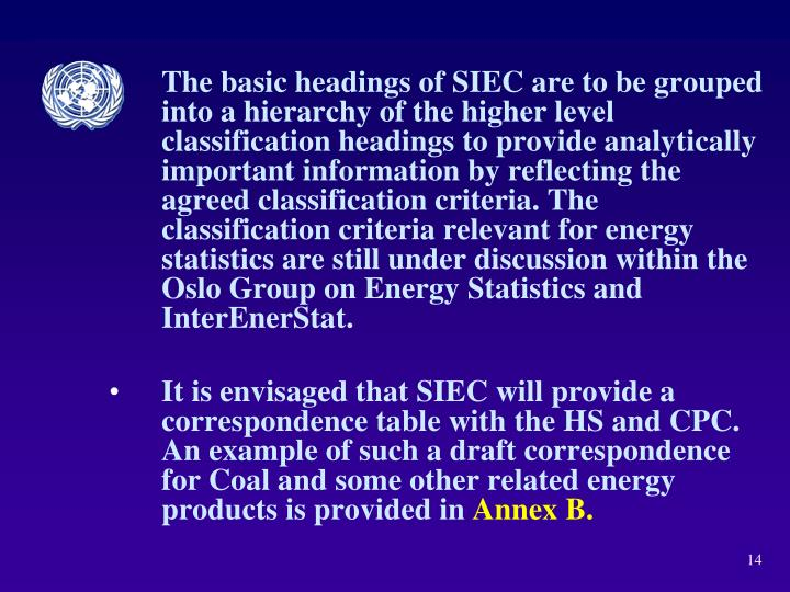 The basic headings of SIEC are to be grouped into a hierarchy of the higher level classification headings to provide analytically important information by reflecting the agreed classification criteria. The classification criteria relevant for energy statistics are still under discussion within the Oslo Group on Energy Statistics and InterEnerStat.