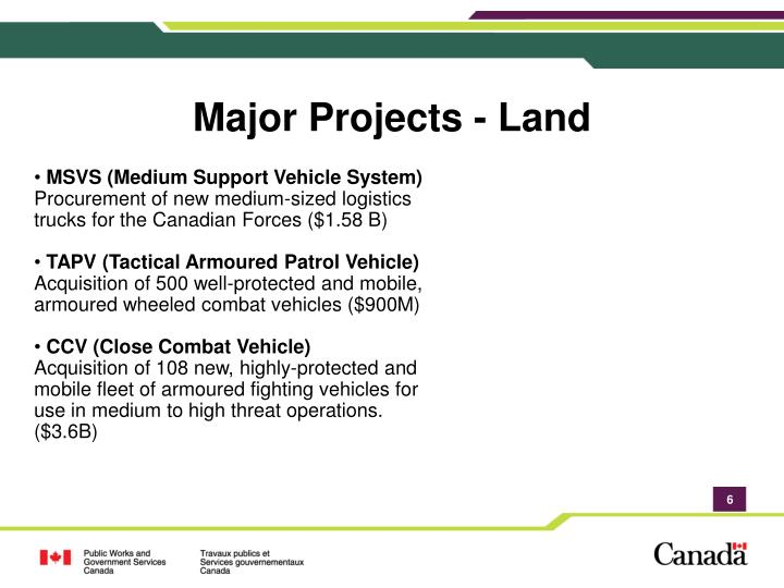 Major Projects - Land