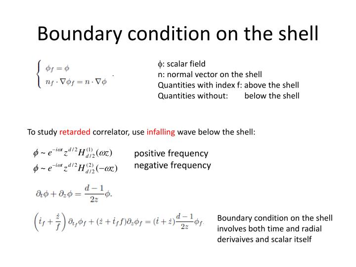 Boundary condition on the shell