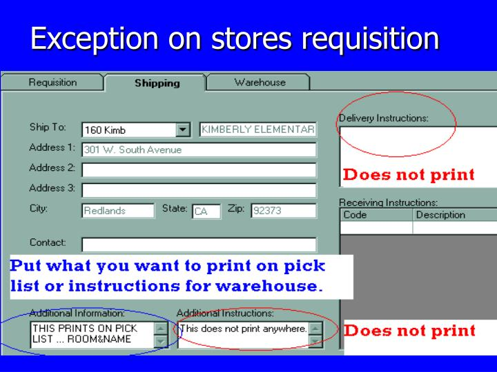 Exception on stores requisition