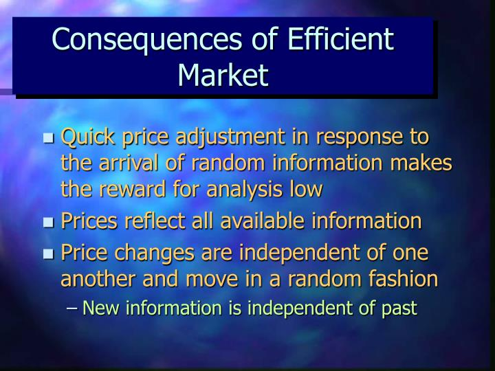 Consequences of Efficient Market
