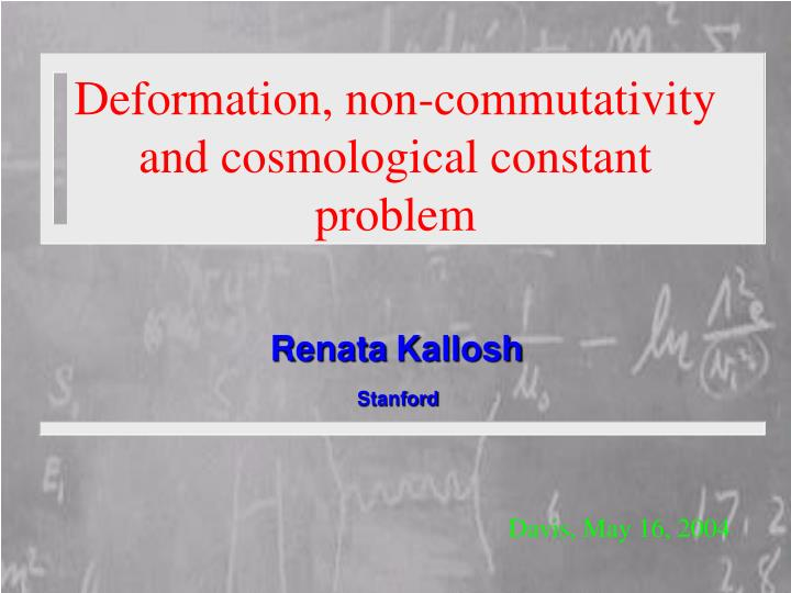 deformation non commutativity and cosmological constant problem n.
