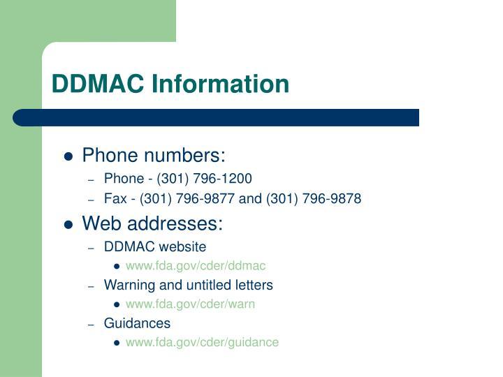 DDMAC Information