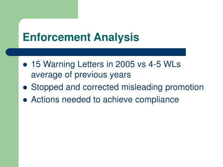 Enforcement Analysis