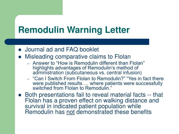 Remodulin Warning Letter