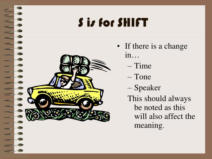 S is for SHIFT