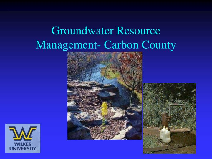 groundwater resource management carbon county n.