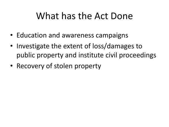 What has the Act Done