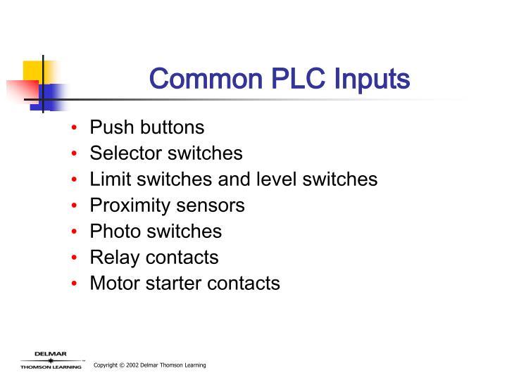 Common PLC Inputs