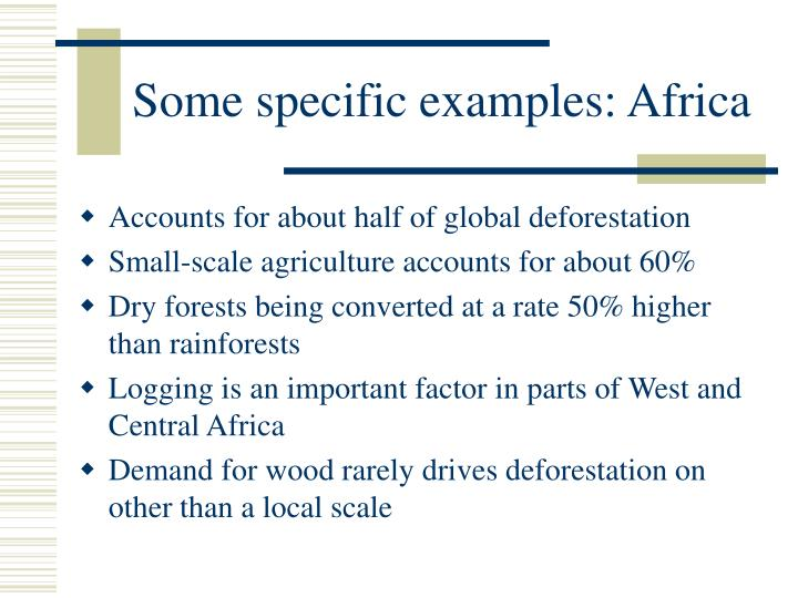 Some specific examples: Africa