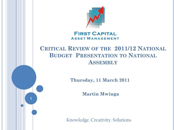 critical review of the 2011 12 national budget presentation to national assembly n.