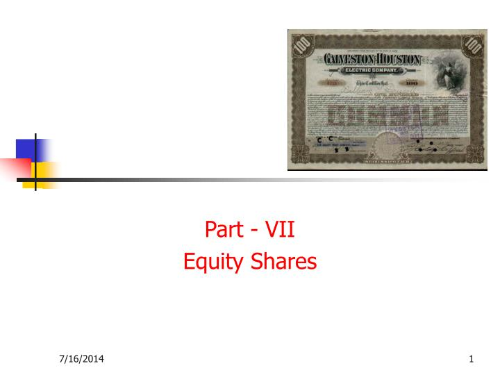 part vii equity shares n.