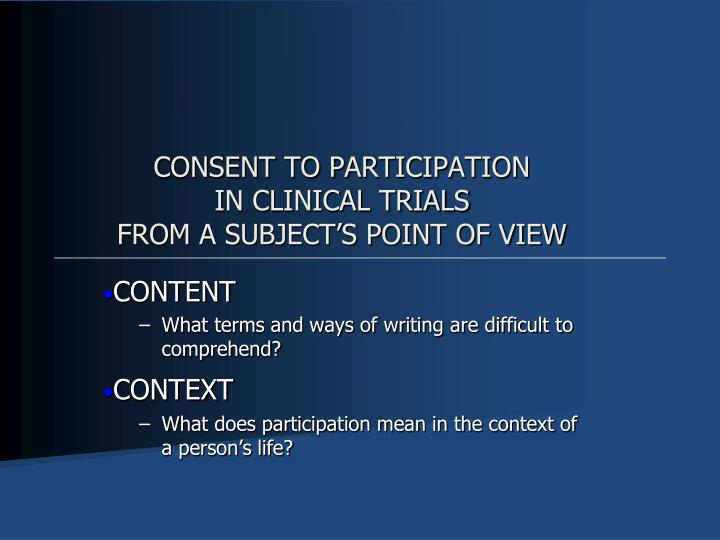 CONSENT TO PARTICIPATION