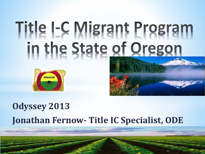 title i c migrant program in the state of oregon n.