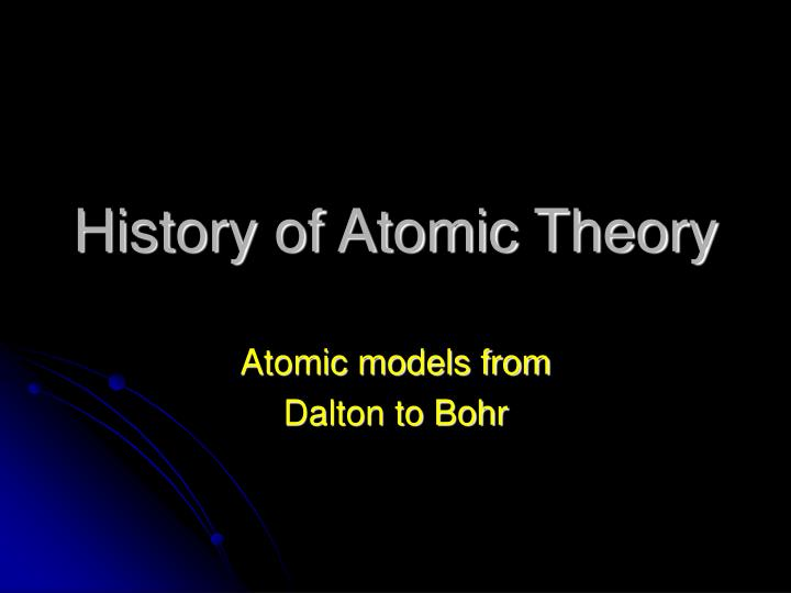 history of atomic theory n.