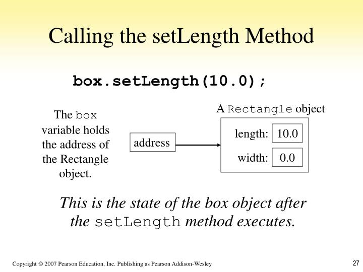 Calling the setLength Method