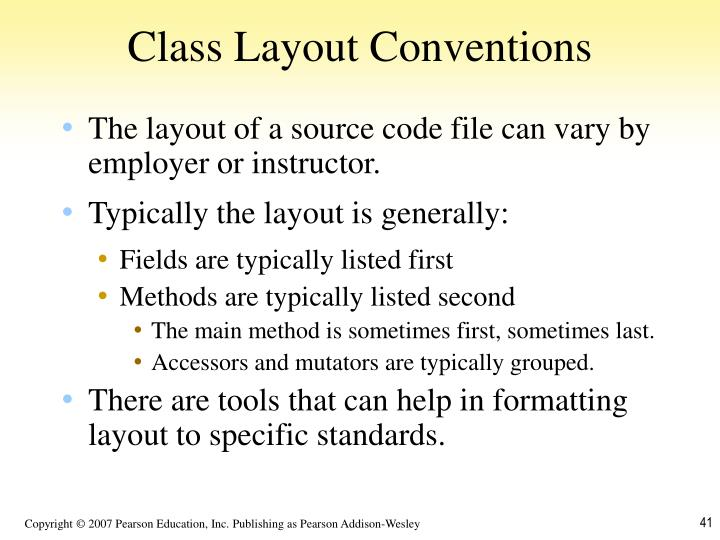 Class Layout Conventions