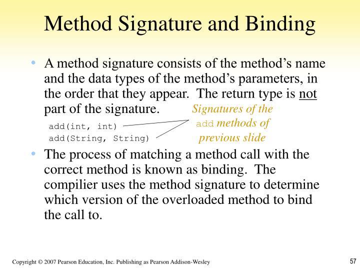 Method Signature and Binding