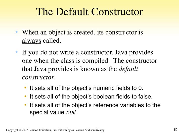 The Default Constructor