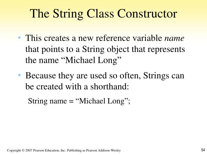 The String Class Constructor