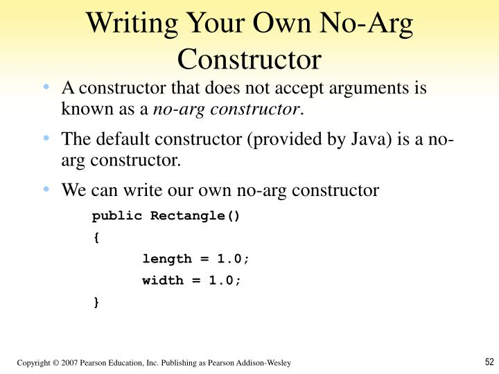 Writing Your Own No-Arg Constructor