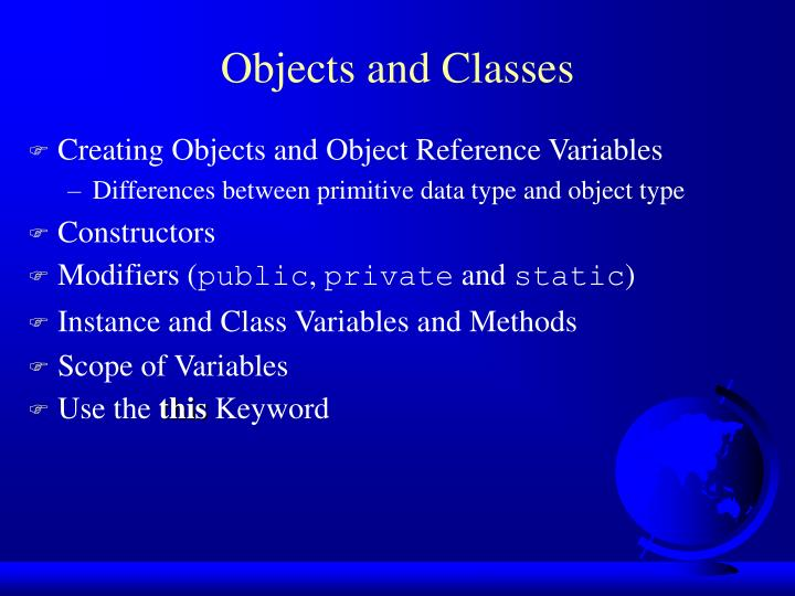 objects and classes n.