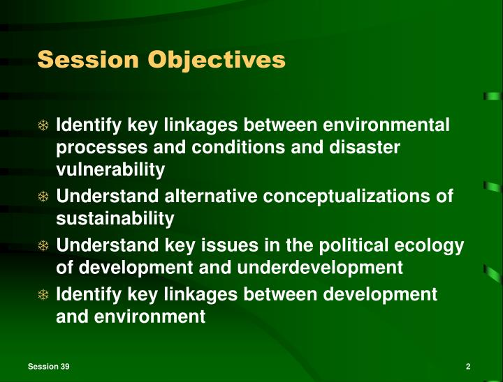 objectives of sustainable development A sustainable development must be backed up by economical growth, in line with the requirments for ecological balance and the entire human development regarding sustainable development, there are.