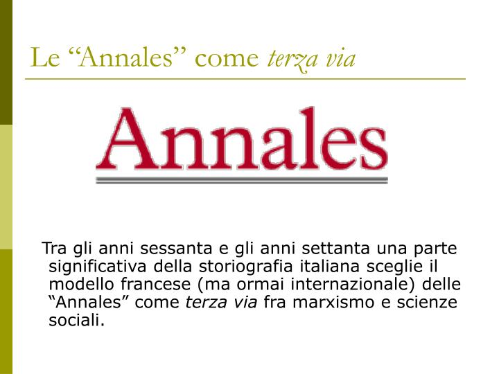 "Le ""Annales"" come"