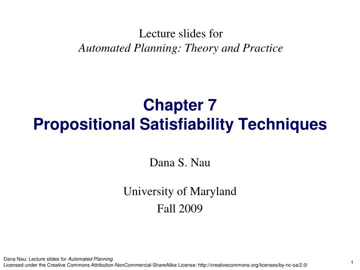 chapter 7 propositional satisfiability techniques n.