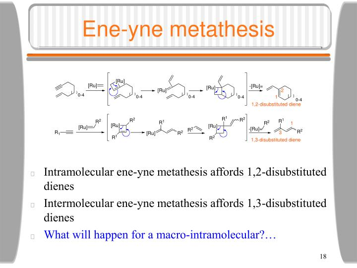 yne metathesis Because ene–yne metathesis had not been applied to the synthesis of macrocycles, we hoped to use our system to test the preference for forming 1,2- vs 1,3-disubstituted dienes in a.